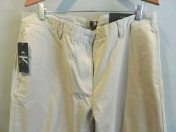 Mens Calvin Klein Beige 100% Cotton Flat Front Chino Pants 3