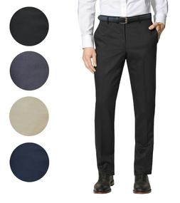 Mens Belted Slim Fit Dress Pants Flat Front Multiple Colors
