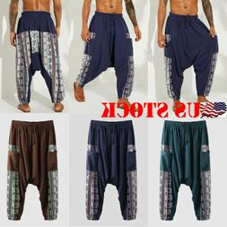 Mens Casual Loose Pants Solid Color Baggy Breathable Cotton