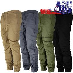 Mens Twill Joggers Pants Hip Hop Elastic Casual Sports Slim
