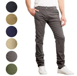 Mens Chino Pants Jeans Cotton Stretch Slim Fit Straight Leg