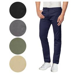 Mens Cotton Stretch Chino Pants 5-Pocket Washed Slim Fit Tro
