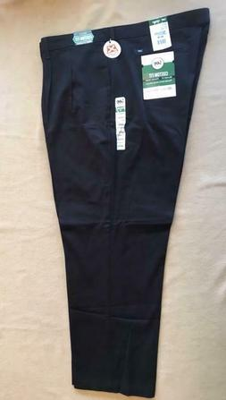 Lee Mens Custom Fit Relaxed Fit Pleated Pants 46x30 Black