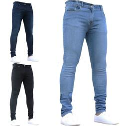 MENS DENIM PANTS SUPER STRETCH SKINNY SLIM FIT JEANS TROUSER