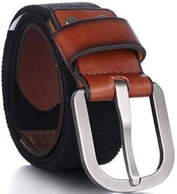 Men's Elastic Belt, Leather Front - Adjustable Stretch Str