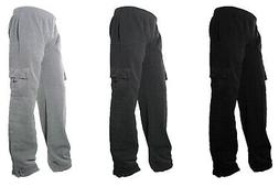 Mens Fleece Lined Cargo Sweat Pants Track Pants With bottom