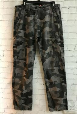 Southpole Mens Gray Camouflage Cotton High Rise Casual Flat