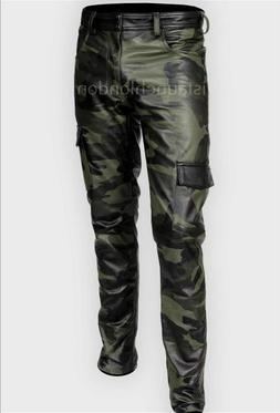 Mens Hot Genuine Leather Camo Pants Nightclub Trousers Kink