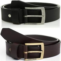 "Alpine Swiss Mens Leather Belt Slim 1 1/4"" Casual Jean Dak"