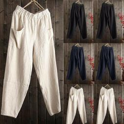 Mens Linen Cotton Loose Pants Beach Drawstring Yoga Casual L