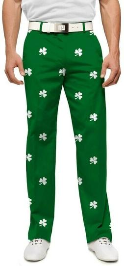 LOUDMOUTH GOLF mens pants SHAMROCKS StretchTech 38x32 38x34