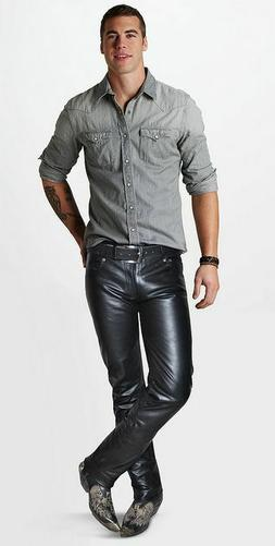 Mens Premium Cowhide Leather Pants Skin Fit Slim Fit Biker S