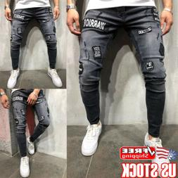 Mens Ripped Biker Skinny Jeans Frayed Destroyed Slim Trouser