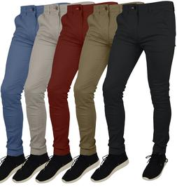 Mens Skinny Fit Stretch Chino Trousers Casual Flat Front Sup