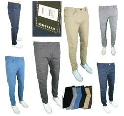 Mens Denim Culture Skinny Slim Fit Stretch Chino Pants Comfy