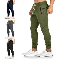 Mens Slim Fit Tracksuit Bottoms Skinny Jogging Joggers Sweat