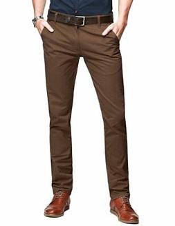 Match Mens Slim Tapered Flat Front Casual Pants 8025 Dark Br