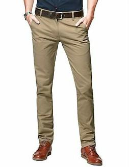 Match Mens Slim Tapered Flat Front Casual Pants Light Khaki