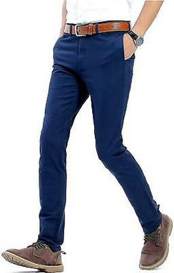 INFLATION Mens Slim Tapered Stretch Flat Front Casual Pants,