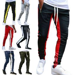 Mens Track Pants Skinny Casual Sports Jogging Bottom Running