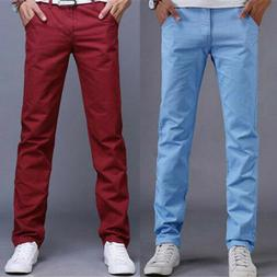 Mens Trousers Pencil Dress Business Pants Slim Fit Straight-