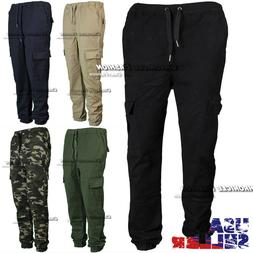 Mens Twill Cargo Pants Pocket Jogger Stretch Slim Fit Straig