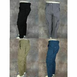 Mens TWILL CARGO PANTS Casual Style Button Flaps Sizes 30 32