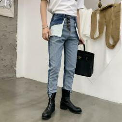 Mens Vintage Color Matching Denim Pants Chic Youth Empire Wa