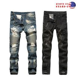 Mens Vintage Distressed Straight Ripped Jeans Moto Denim Pan
