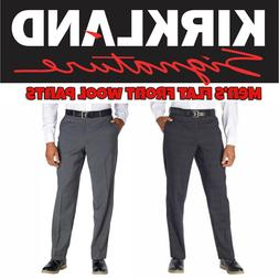Kirkland Signature Mens Wool Flat Front Dress Pants