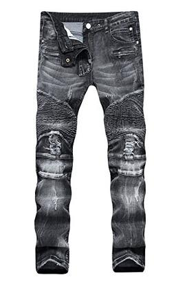 COLINNA Men's Moto Biker Vintage Distressed Ripped Slim Fit