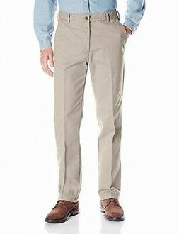 Amazon Essentials NEW Beige Mens Size 33x32 Khakis Flat-Fron