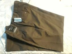 NEW Van Heusen Brown Polyester Pants Stain Shield Mens Size