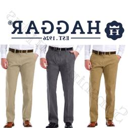 NEW Haggar Men's Sustainable Stretch Chino Flat Front Straig