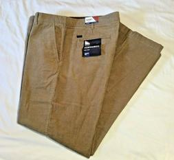 New! Men's IZOD Tailgate Corduroy Pants Straight Fit Flat Fr