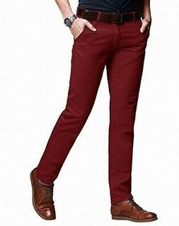Match NEW Red Mens Size 40x30 Slim Fit Tapered Stretchy Chin