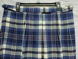 Nwt Carl Meyers Blue Plaid Driving Pants Size 36R Wool Pleat