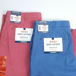 NWT Izod Mens Saltwater Wash Blue or Red Stretch Chino Pants