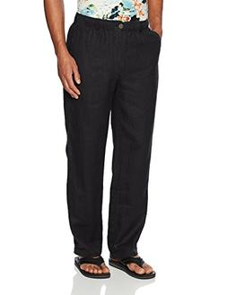 28 Palms Men's Relaxed-Fit Linen Pant with Drawstring, Black