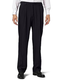 Haggar Men's Repreve Stria Gab Pleat Front Dress Pant,Navy,3