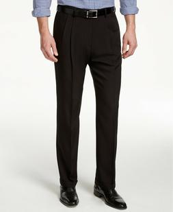 Haggar Men's Repreve Stria Gab Pleat Front Dress Pant,Black,