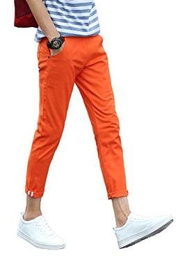 Plaid&Plain Men's Slim Fit Stretch Casual Orange Pants Cropp