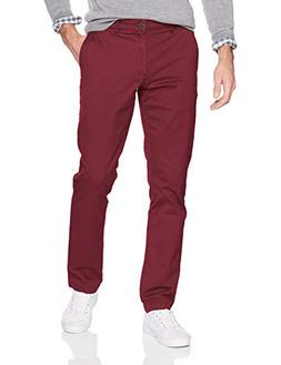 Goodthreads Men's Slim-Fit Washed Chino Pant, Burgundy, 33W