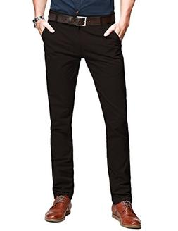 Match Mens Slim-Tapered Flat-Front Casual Pants