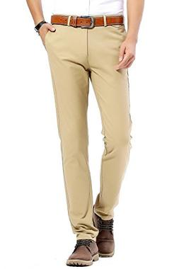 INFLATION Men's Stretchy 100% Cotton Flat Front Trousers Dre