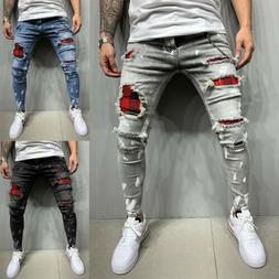 US Men Slim Fit Skinny Stretchy Jeans Drawstring Pant Biker